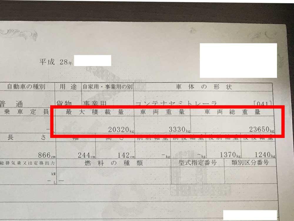 トレーラー車検証の総重量